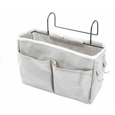 Bedside Hanging Storage Organizer Basket Bag Sundry Tissue Holder Large Capacity (light gray)