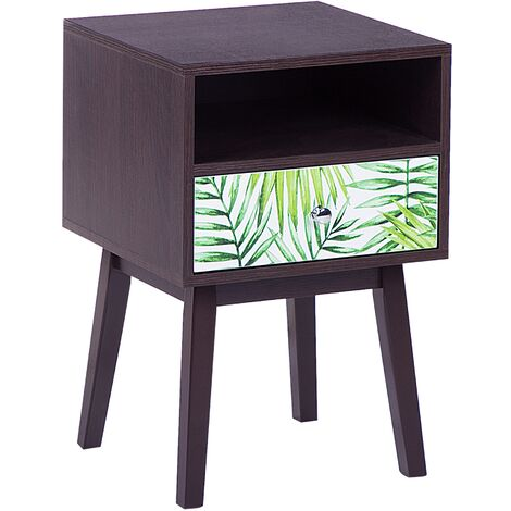 Bedside Night Table 1 Drawer Living Room Table Compact Wood Floral Motif Arvada