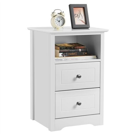 """main image of """"Bedside Table, Bedside Cabinet Nightstand Table with 2 Drawers and Shelf, Side End Table Storage Unit for Bedroom Living Room Furniture, White"""""""