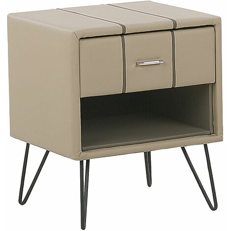 Bedside Table Beige Minimalist Faux Leather Upholstered Drawer Storage Betin