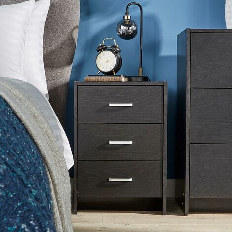 """main image of """"Bedside Table Black 3 Drawer Bedside Cabinet Night Stand Metal Runners"""""""