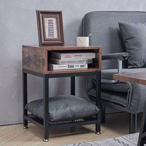 Bedside Table Cabinet With Shelf Living Room Rustic Wood Side End Coffee Table