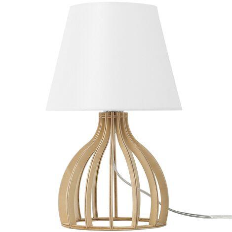 Bedside Table Desk Lamp Light Wood Base White Shade Agueda