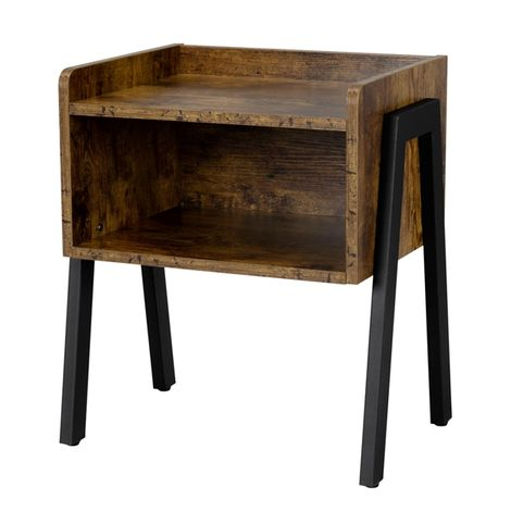 Bedside Table Industrial Nightstand Stackable End Table with Open Front Storage Compartment Retro Rustic Chic Wood Look Accent Furniture with Metal Legs Rustic Brown