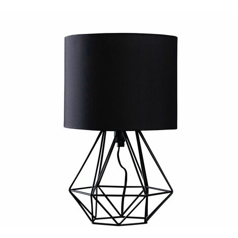 Bedside Table Lamp 40Cm Geometric Bedside Table Lamp - Brushed Chrome & White - Silver