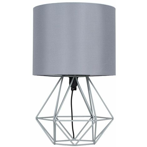 Bedside Table Lamp 40Cm Geometric Wire Lights Copper Chrome Black - Grey