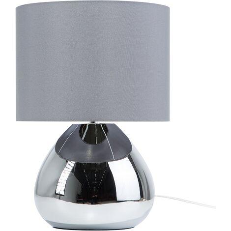 "main image of ""Bedside Table Lamp High Gloss Metal Base Silver Grey Ronava"""