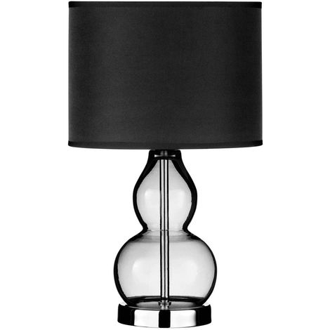 Bedside Table Lamp, Smoke Grey Glass with Chrome Base, Black Shade