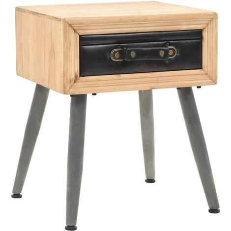 Bedside Table Solid Fir Wood 43x38x50 cm