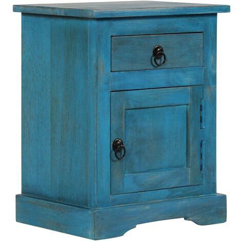 Bedside Table Solid Mango Wood 40x30x50 cm Blue - Brown