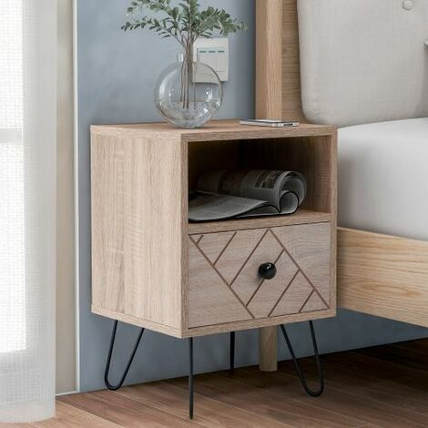 Bedside Table Storage Cabinet Chest of Drawers, 1 Drawer and 1 Shelf With Metal Handles and Runners, Unique Fixed Backplane and Unique Zig Zag Design Oak Bedroom Furniture