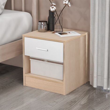Bedside Table Storage Cabinet Chest of Drawers, 1 Drawer and 1 Shelf With Metal Handles and Runners, Unique Fixed Backplane White and Oak Bedroom Furniture