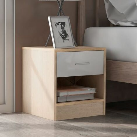 """main image of """"Bedside Table Storage Cabinet Chest of Drawers, 1 Drawer and 1 Shelf With Metal Handles and Runners, Unique Fixed Backplane White and Oak Bedroom Furniture"""""""