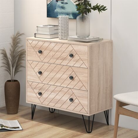 Bedside Table Storage Cabinet Chest of Drawers, 3 Drawers With Metal Handles and Runners, Unique Fixed Backplane and Zig Zag Design Oak Bedroom Furniture