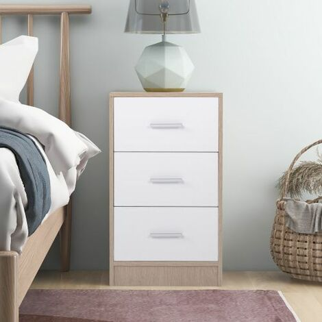 """main image of """"Bedside Table Storage Cabinet Chest of Drawers, 3 Drawers With Metal Handles and Runners, Unique Fixed Backplane White and Oak Bedroom Furniture"""""""