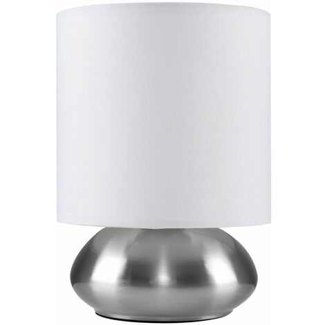 Bedside Table Touch Lamp Round Office Reading Lighting - Silver