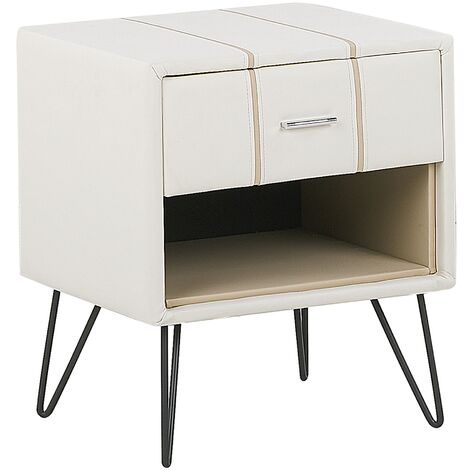 Bedside Table White Minimalist Faux Leather Upholstered Drawer Storage Betin