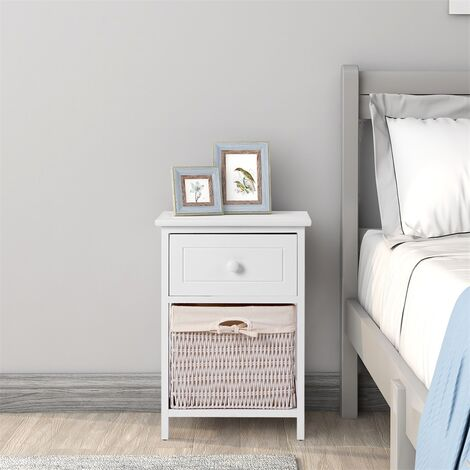 Bedside Table with Basket Chest of Drawers Solid Wood Bedroom Hallway Bathroom FULLY ASSEMBLED