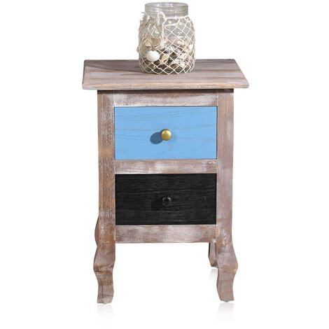 bedside table wood country house 2 drawers blue Used Shabby