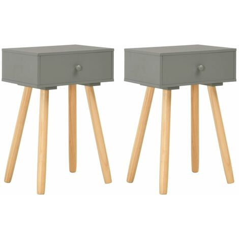 Bedside Tables 2 pcs Grey Solid Pinewood