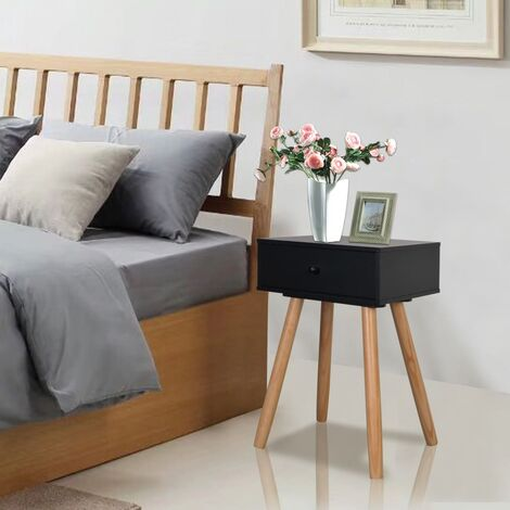 Bedside Tables 2 pcs Solid Pinewood 40x30x61 cm Black - Black