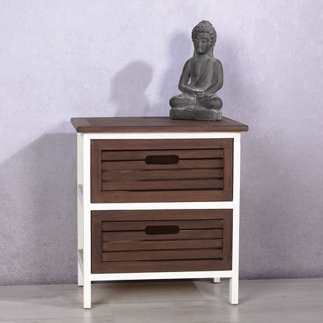 Bedside tables Bedside cabinet Bedside consoles Drawers Wood 2 pieces Brown White Table