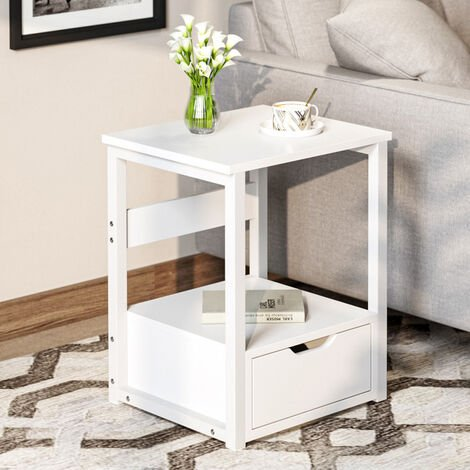 Bedside Tables, Bedside Cabinet with 1 Drawers, Industrial Nightstands,Metal Frame, Spacious Storage