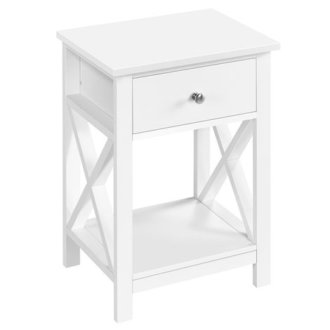 Bedside Tables X Shaped Nightstand Table Drawer with Shelf for Bedroom, Livingroom 40.00x30.00x55.00 cm