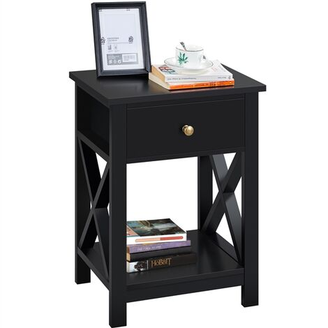 """main image of """"Bedside Tables X Shaped Nightstand Table Drawer with Shelf for Bedroom, Livingroom"""""""