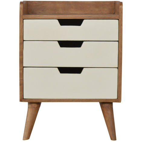 Bedside with 3 White Hand Painted Cut-Out Drawers