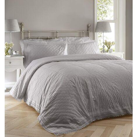 Bedspread Balmoral Broderie Anglaise Quilted Throw Throwover Set Grey