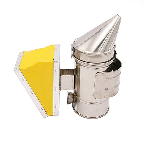 "main image of ""Bee Hive Smoker Bee Keeper Smoker Stainless Steel Heat Chamber Yellow Bellow Beekeeping Equipment"""