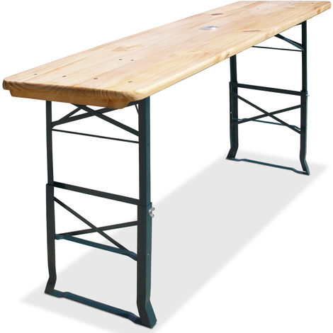 Beer Table Deuba Height Adjustable from 75 x 105 cm Bar Table Wood 180 x 50 cm with Umbrella Holder