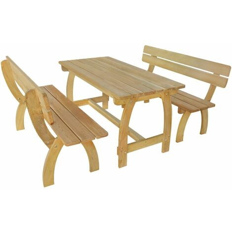 Beer Table with 2 Benches Impregnated Pinewood