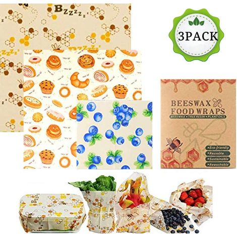 Beeswax Wrap for Fruit and Vegetables, Non-Toxic and Safe, Food Keep Fresh, Made from Organic Cotton Cloth and Natural Beeswax, 3 Pack
