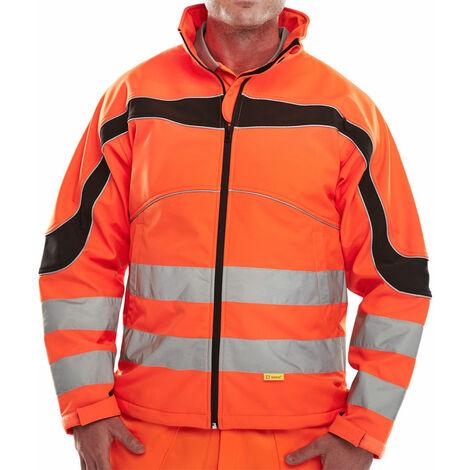 Beeswift - ETON Hi Vis SOFT SHELL JACKET OR XL - Orange / Black