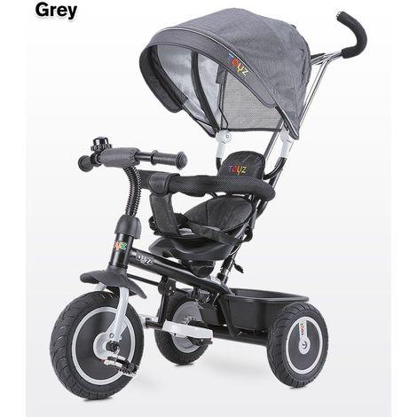 BEEZ   Le tricycle évolutif bébé/enfants   18 mois +   3 Roues   Vélo avec accessoires   Canopy   Balade   Canne téléscopique   Gris - Gris