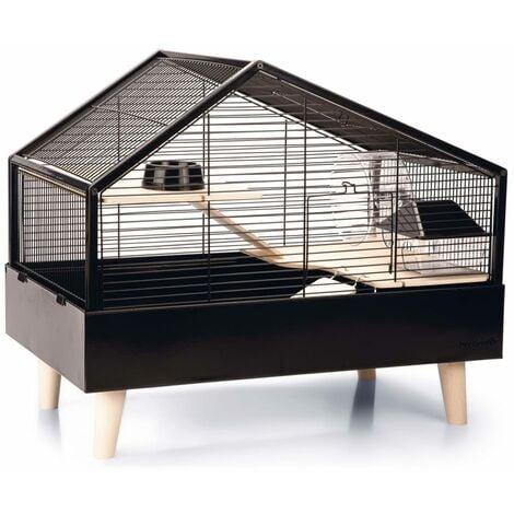 Beezteez Jaula para roedores Ayaz metal negro 58x38x46 cm - Nero
