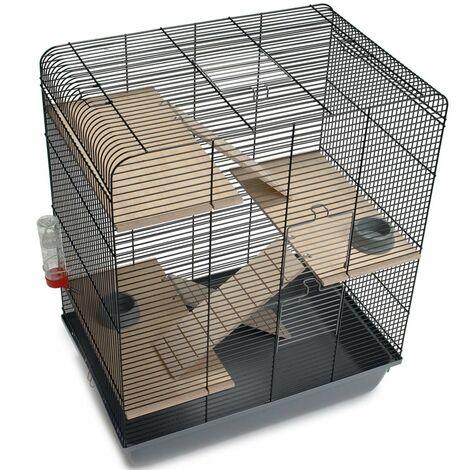 Beezteez Jaula para roedores Gordy metal negro 58x38x71 cm - Nero