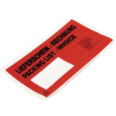 Begleitpapiertasche Folie,selbstkl.rot/transp. B240xL110mm LS/RE 1000 St./Krt.