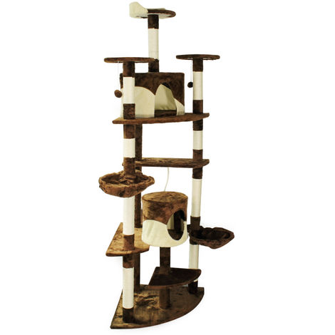 Beige/Brown Corner Cat Tree Scratching Post Climbing Tree 200cm with Platforms, Caves and Hammocks
