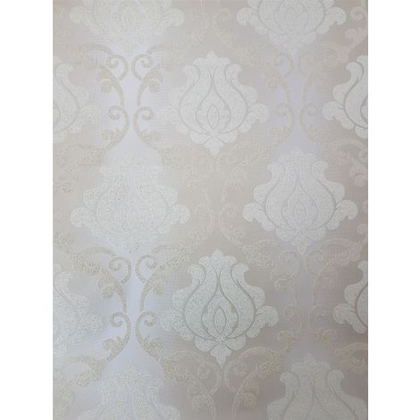 Beige Gold Damask Glitter Wallpaper Sparkle Textured Vinyl Washable A.S Creation