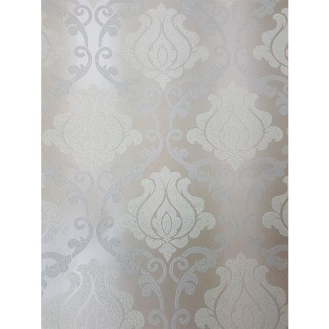 Beige Silver Damask Glitter Wallpaper Sparkle Shimmer Textured Vinyl Washable