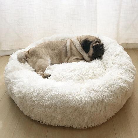 Beige Soft Pet Dog Cat Bed Cushion Pet kennel Fluffy Faux Fur Shaggy wool Warm Round