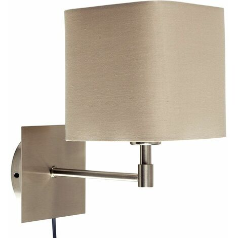 Beige Square Brushed Chrome Bedside Wall Light + Plug, Cable & Switch