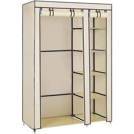 Beige tela no tejida sola puerta 5 zapatero armario 110 * 45 * 175 cm