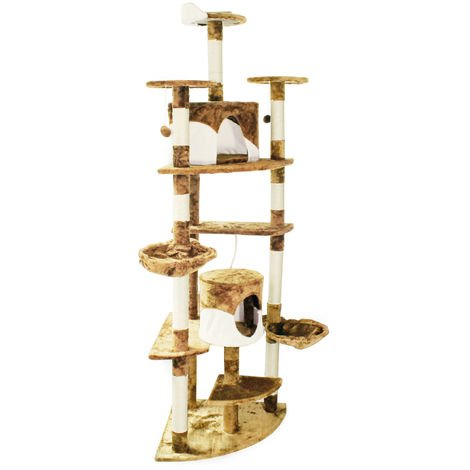 Beige/White Corner Cat Tree Scratching Post Climbing Tree 200cm with Platforms, Caves and Hammocks