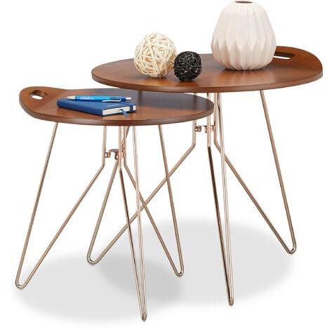 Beistelltisch 2er Set Holz Metallgestell Retro Design