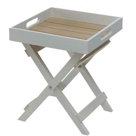 Beistelltisch 30 cm Holz - klappbar und abnehmbares Tablett