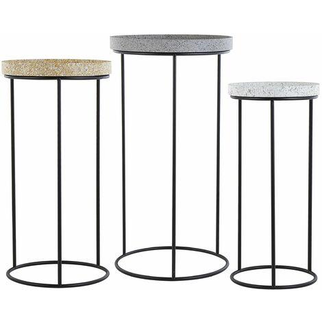 Beistelltisch 3er Set Grau Weiß und Gelb Metall rund MDF Tischplatte in Stein Optik Granit Industrie Stil Flur Diele Wohnzimmer Schlafzimmer Möbel